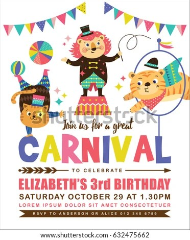 Kids Birthday Party Invitation Card Circus Stock Vector 632475662 - circus party invitation