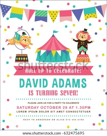 Kids Birthday Party Invitation Card Circus Stock Vector 632475695 - circus party invitation