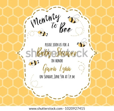 Baby Shower Invitation Template Text Mommy Stock Vector 1020927415 - baby shower invitation templates