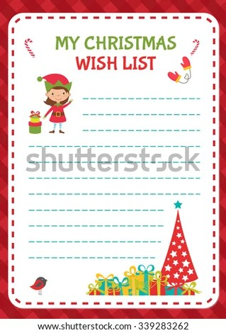 Christmas Wishlist Template Vector Illustration Stock Vector