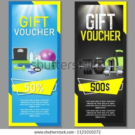 Fitness Gift Voucher Template Set Vector Stock Photo (Photo, Vector