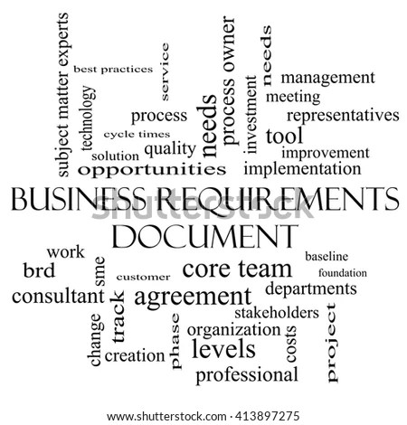 Business Requirements Document Word Cloud Concept Stock Illustration