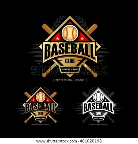 Golden Baseball Sport Badge Logo Design Stock Vector (Royalty Free