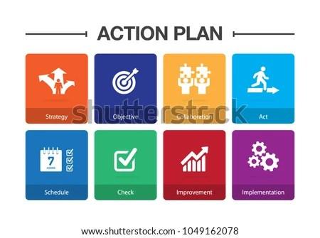 Action Plan Infographic Icon Set Stock Photo (Photo, Vector