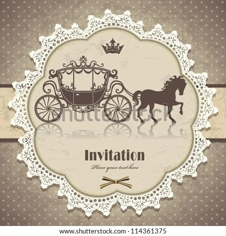 Vintage Horse Carriage Invitation Template Stock Photo (Photo - vintage invitation template