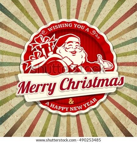 Vector Vintage Christmas Greeting Card Santa Stock Vector (Royalty