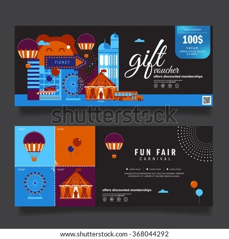 Vector Illustration Gift Voucher Template Modern Pattern Carnival