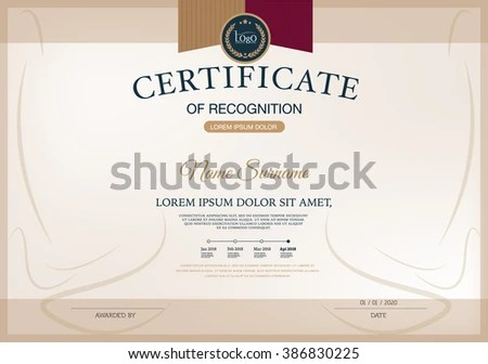 Certificate RECOGNITION Frame Design Template Layout Stock Vector - blank certificate of recognition