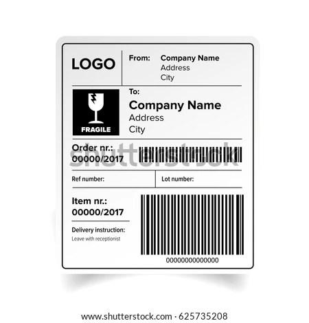 Shipping Label Barcode Template Vector Stock Vector 625735208