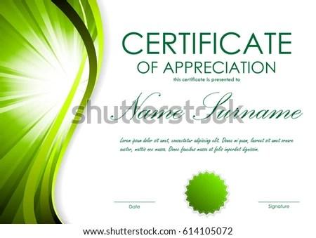 Certificate Appreciation Template Green Dynamic Bright Stock Vector - certificate of appreciation template
