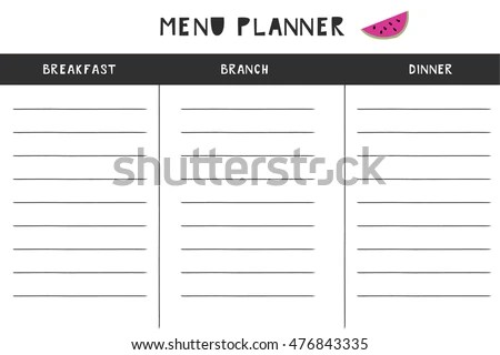 Daily Menu Planner Vector Template Stock Vector HD (Royalty Free - daily menu planner template