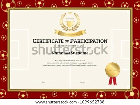 Certificate Template Football Sport Theme Soccer Stock Vector