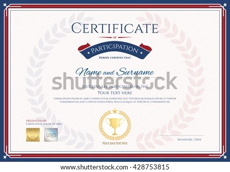 Certificate Participation Template Sport Theme Gold Stock Photo