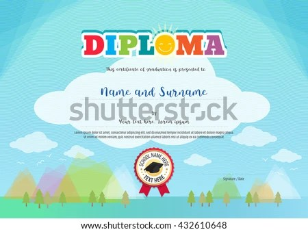 Colorful Diploma Certificate Template Kids Activities Stock Vector - certificate template for kids