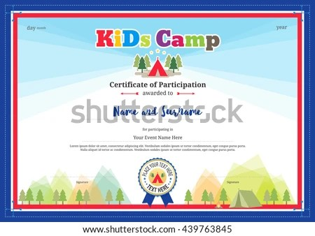 Colorful Modern Certificate Participation Template Kids Stock Vector - certificate of participation format