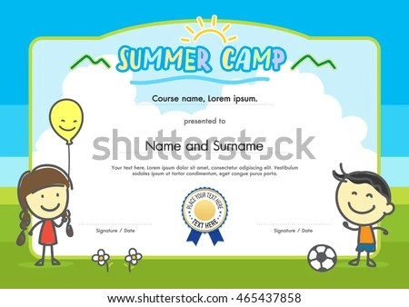 Kids Summer Camp Certificate Document Template Stock Photo (Photo