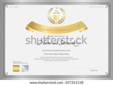 Certificate Participation Template Silver Border Golden Stock Vector - certificate of participation template