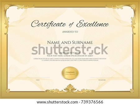Certificate Completion Template Thai Art Stock Vector 244660327 - blank certificates of completion
