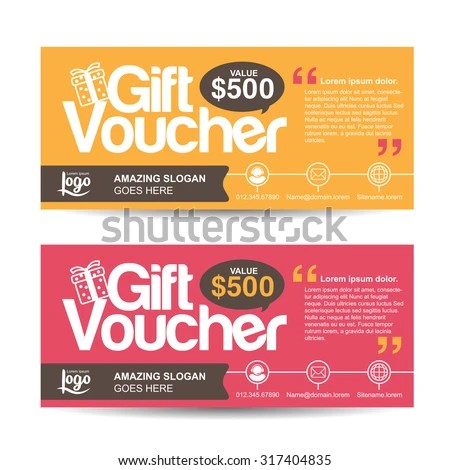 Gift Voucher Template Colorful Pattern Cute Stock Vector HD (Royalty