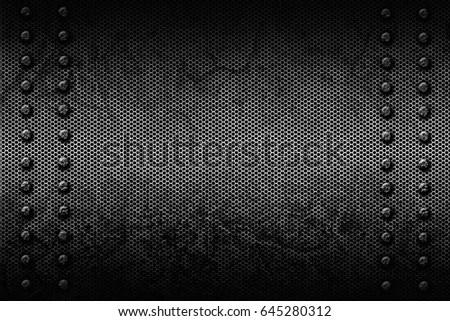 Black White Grunge Mesh Background Rivet Stock Illustration