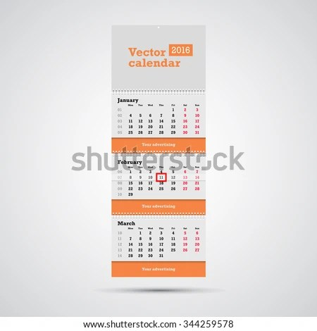 Wall Calendar Vector Template Vertical Calendar Stock Vector