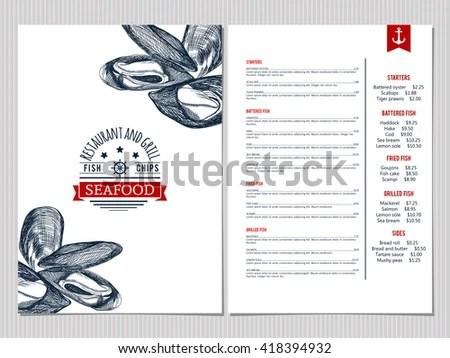 Seafood Menu Design Corporate Identity Document Stock Vector - Cafe Menu Template