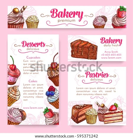 Bakery Pastry Desserts Banner Template Set Stock Vector HD (Royalty