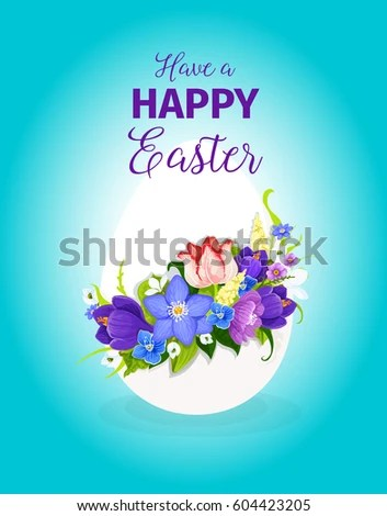 Happy Easter Greeting Card Template Paschal Stock Vector 604423205