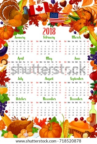 Calendar Template Thanksgiving Day Holiday Frame Stock Photo (Photo - holiday calendar template
