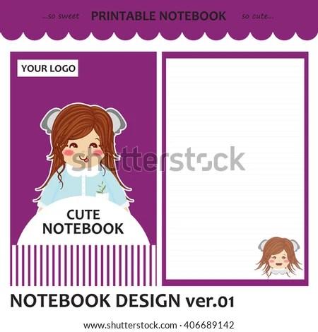 Kawaii Printable Notebook Vector Set Cover Stock Vector (Royalty