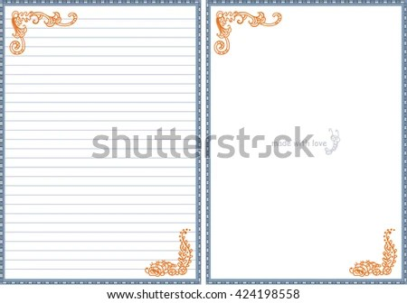 Vector Printable Letter Paper Stationery Doodle Stock Vector - printable letter paper with lines