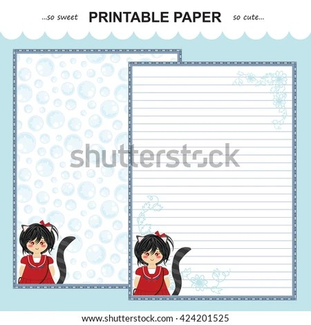 Vector Printable Letter Paper Stationery Flat Stock Vector (2018 - printable letter paper with lines