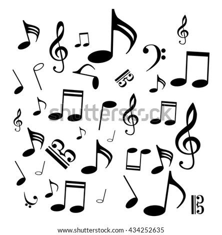 Music Notes Bass Treble Clef Black Stock Vector 434252635 - Shutterstock - clef music
