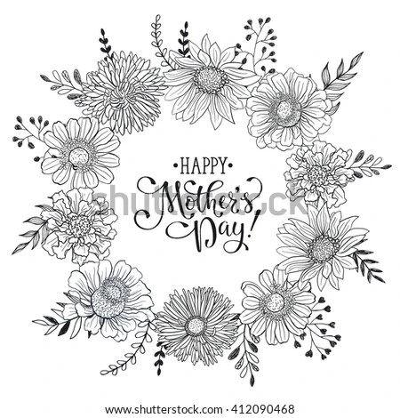 Mothers Day Greeting Card Template Happy Stock Vector 412090468