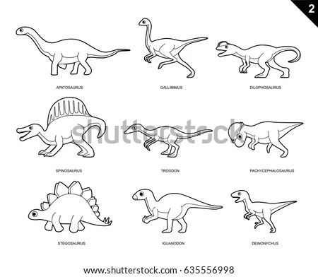 Random Dinosaur Coloring Book Cartoon Vector Stock Vector (Royalty - coloring dinosaur