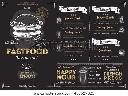 Fast Food Menu Cover Layout Breakfast Stock Photo (Photo, Vector