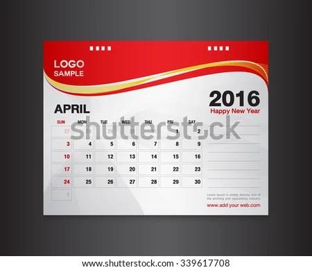 Desk Calendar 2016 Vector Design Templatecalendar Stock Vector - calendar sample design