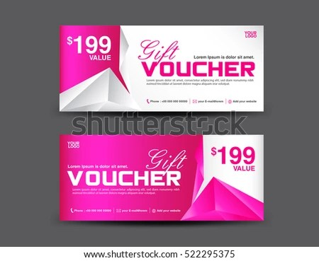 Gift Voucher Template Coupon Design Pink Stock Vector 522295375 - gift vouchers templates
