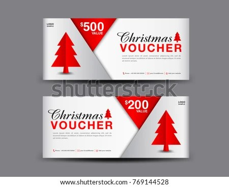 Christmas Voucher Template Layout Business Flyer Stock Vector