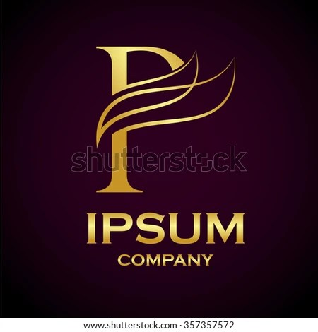 Abstract Letter P Logo Design Gold Beauty Stock Vector 357357572