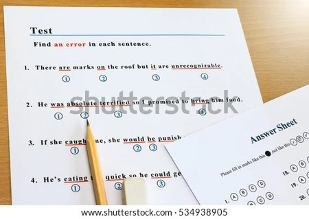 English Grammar Multiple Choice Test Find Stock Photo (Edit Now