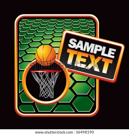 Basketball Hoop On Green Gold Template Stock Vector 36498190