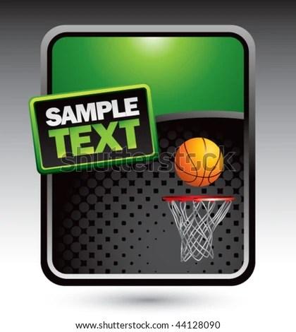Basketball Hoop Ball Green Stylized Template Stock Vector 44128090