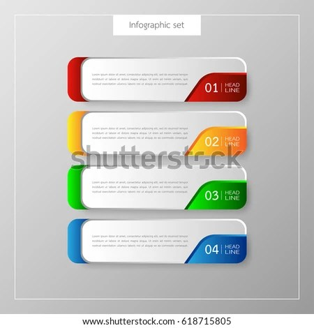Infographic Button Template Banner Set Colorful Stock Vector - template