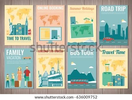 Travel Tourism Brochure Set Template Magazine Stock Vector 636009752