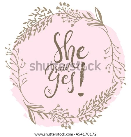 She Said Yes Engagement Bride Greeting Stock Vector 454170172 - engagement card template