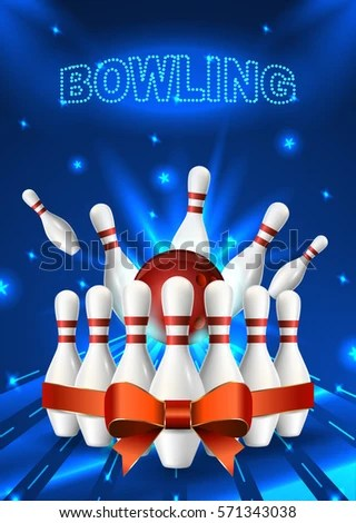 Bowling Flyer Template A 6 Format Size Stock Photo (Photo, Vector
