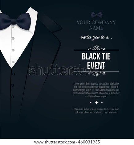 Black Tie Event Invitation Elegant Black Stock Vector 460031935 - invitation card event