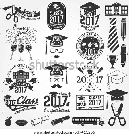 Set Vector Graduates Class 2017 Badges Stock Vector 587411255 - print grad cards