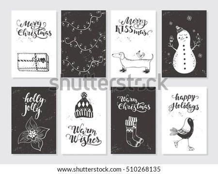 Vector Merry Christmas Black White Greeting Stock Vector 510268135 - christmas cards black and white